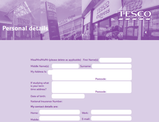 tesco-job-application-pdf Job Application Form For Year Olds on