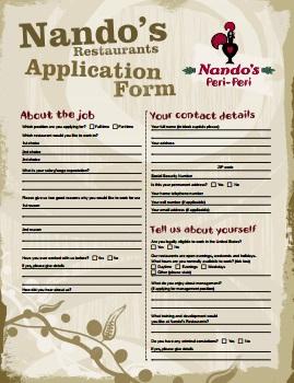 Nando's Job Application PDF - Front