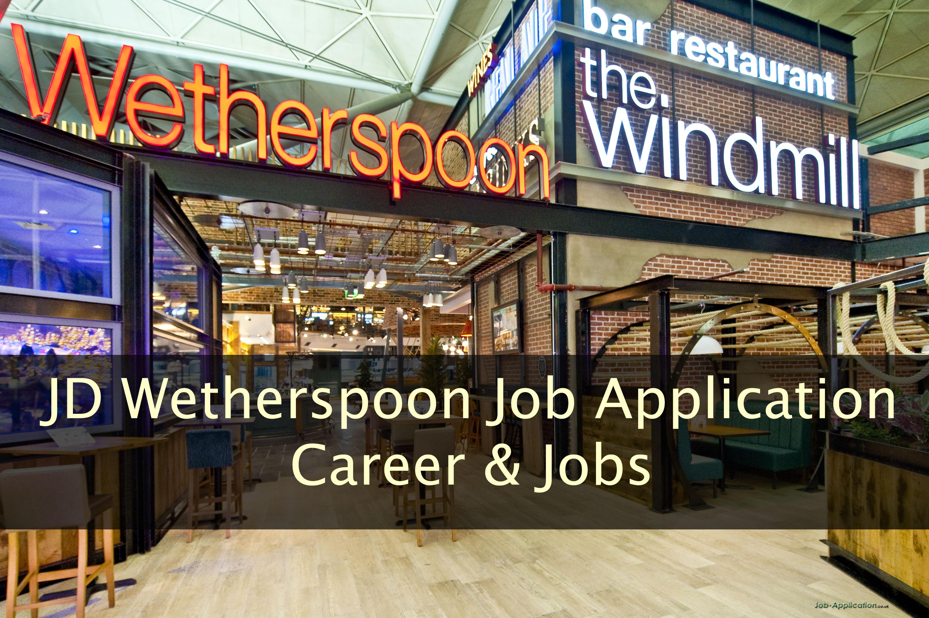 JD wetherspoon Job Application Form 2020