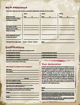Nando's Job Application PDF - Back