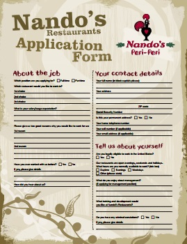 Nandos-job-application-pdf-front Blank Application Form For Job on blank training form, blank time management form, blank application to print, blank survey form, blank job checklist, blank design form, blank interview form, blank history form, blank job applications template samples, blank driver application forms, blank loan application, blank restaurant application, blank employment application template, blank application forms print, blank insurance form, blank membership application, blank basic application, blank job reference letter, blank subway application, blank employee application,