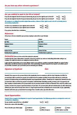 Domino's Job Application PDF - Back